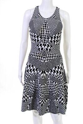 McQ Alexander McQueen Womens Abstract Knit Swing Dress Black White Size Medium