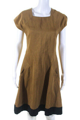 Theyskens Theory Womens Square Neck A-Line Dress Brown Size 6