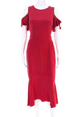 Theia Womens Geranium Ruffle Dress Red Size 12 10577659