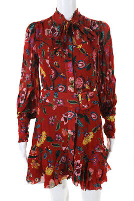 Alexis Womens Womens Long Sleeve Belted Floral Crepe Rhetta Dress Red Size XS