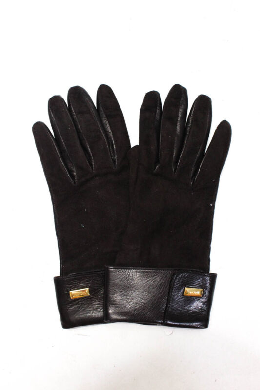 Moschino Womens Leather Gloves Brown