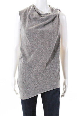 Helmut Lang Womebs Cowl Neck Asymmetrical Sweater Gray Wool Size Large