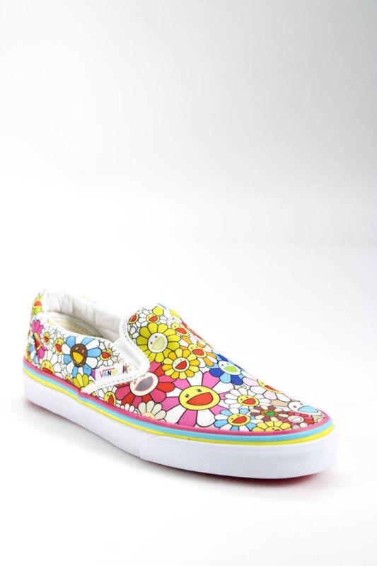 Vans Takashi Murakami Mens Canvas Flower Slip On Sneakers Multi White Size 6