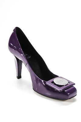 Roger Vivier Womens Buckle Patent Leather Pumps Purple Size 38 8