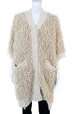 Hotel Particulier Womens Short Sleeve Fuzzy Button Up Jacket Size Small