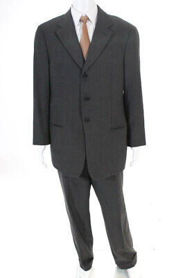 Armani Collezioni Mens Herringbone Flat Front Suit Black Grey Size 44 Regular/38