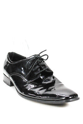 Calvin Klein Womens Lace Up Patent Leather Dress Shoes Oxfords Black Size 11