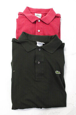 Lacoste Boys Short Sleeve Collared Polo Shirt Green Pink Cotton Size 5 Lot 2