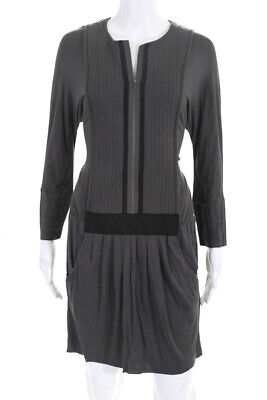 Hoss Intropia Womens Long Sleeve Front Zip Up Blouson Dress Gray Size Large