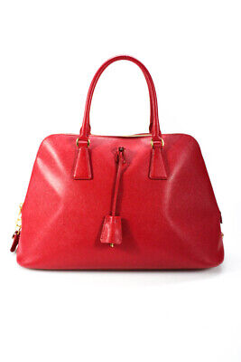 Prada Leather Saffiano Dome Satchel Handbag Red Gold
