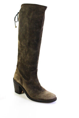 FIORENTINI + BAKER Womens Suede Zip Up Knee High Boots Gray Size 38 8