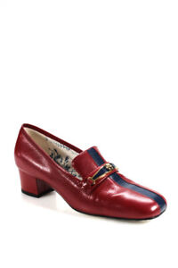 96d8e9e78f2 Gucci Womens Leather Gold Blue Tiger Loafers Red Navy Stripe Size 36.5 6.5