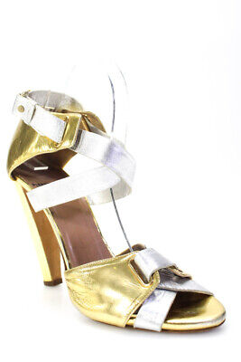 Pierre Hardy Womens Metallic Ankle Strap Sandals Gold Silver Tone Leather 39.5