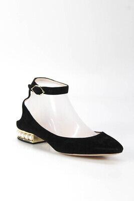 Nicholas Kirkwood Womens Faux Pearl Heel Ankle Strap Pumps Black Suede Size 38.5