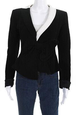 Giorgio Armani Womens Long Sleeve Bow Blazer Black White Size 10