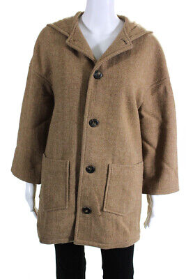 APC Womens Wool Long Sleeve Hooded Peacoat Brown Size Small
