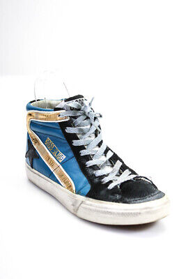 Golden Goose Deluxe Brand Womens Leather High Top Skate Sneakers Blue Size 8