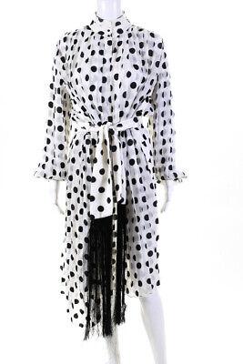 Zimmermann Womens Sheer Pleated Polka Dot Maxi Dress White Black Size 1