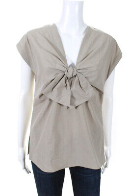 Tomas Maier Womens Sleeveless Bow Front Top Beige Cotton Size 8