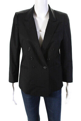 Band Of Outsiders Womens Button Up Collared Wool Blazer Jacket Black Size 3