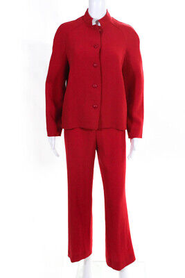 Genny Womens Two Piece Straight Leg Long Sleeve Basic Pant Suit Red Wool Size 6