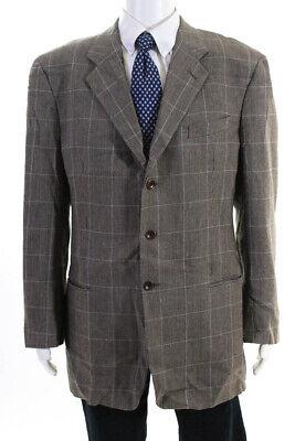 Armani Collezioni Mens Three Button Glen Check Blazer Brown Silk Linen Size 46