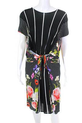 Cavalli Class Womens Floral Print Polka Dot A Line Dress Black Size 6 LL19LL