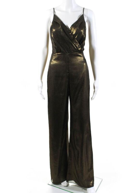 Amanda Uprichard Womens Spaghetti Strap Metallic Stripe Jumpsuit Bronze Size M