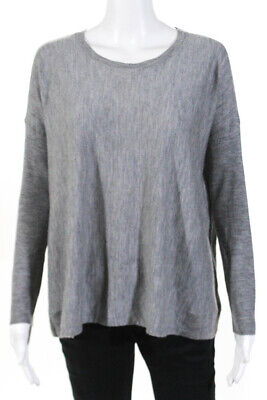 Eileen Fisher Womens Thin Knit Crew Neck Sweater Gray Size Extra Small LL19LL
