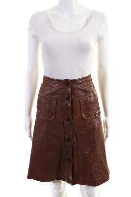 See by Chloe Womens Button Front Knee Length Leather A Line Skirt Brown Size 4