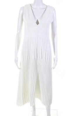 Dion Lee Womens V Neck Pleated Sleeveless Midi A Line Dress White Size 4
