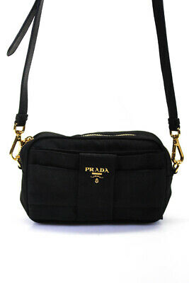 Prada Nylon Mini Tessuto Bow Crossbody Handbag Black