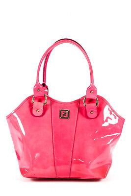 Fendi Womens Double Strap Scalloped Tote Handbag Neon Pink Patent Leather