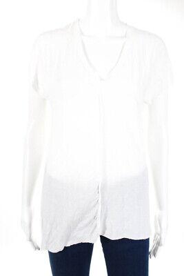 Andrea Ya' aqov Womens V Neck Cap Sleeve Top White Cotton Size Small
