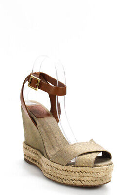 Tory Burch Womens Canvas Metallic Strappy Espadrilles Wedges Gold Size EUR 38
