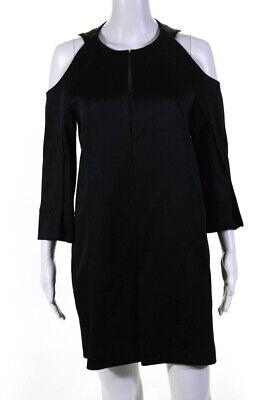 Roland Mouret Womens Cold Shoulder V Neck Sheath Dress Black Size M