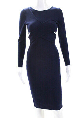 Jonathan Simkhai Womens Cut Out Waist Sweater Dress Blue Size Extra Small