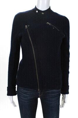 BCBG Max Azria Womens Knit Motorcycle Jacket Ribbed Trim Navy Blue Size Small