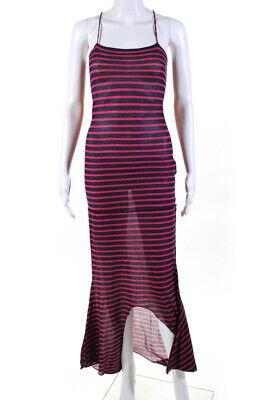 McQ by Alexander McQueen Women Spaghetti Stripe Scoop Neck Maxi Dress Red Size M