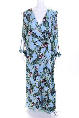 Nicholas Womens Silk Floral Print Wrap Dress Blue Multi Colored Size 14 LL19LL
