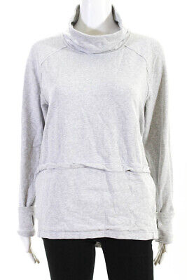 Lululemon Womens Long Sleeve Cowl Neck Sweater Gray Cotton Size 8
