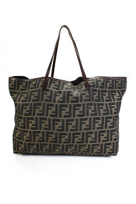Fendi Vintage Leather Strap Monogram Tote Handbag Brown