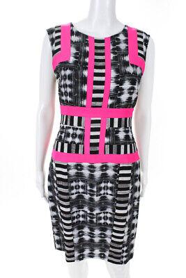 BCBG Max Azria Womens Sleeveless Color Blocked Knee Length Sheath Dress Size 6