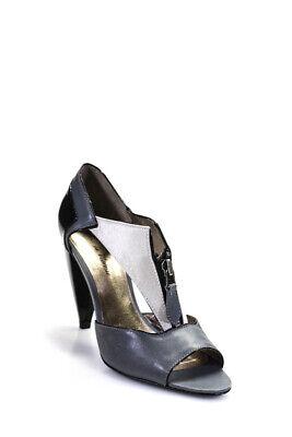 Pour la Victoire Womens T-Strap Peep Toe Pumps Gray Black Leather Satin Size 6 Peep Toe T-strap Pumps