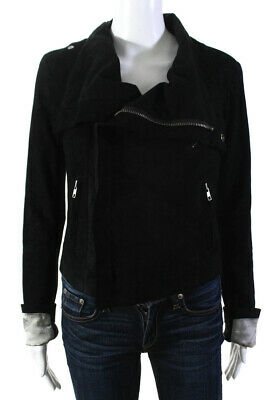Veda Womens Long Sleeve Zip Up High Collar Jacket Black Suede Size Small