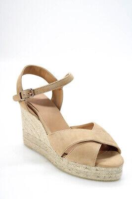 Castaner Womens Suede Blaudell Espadrille Wedge Sandals Tostado Beige Size 40 10