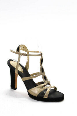 Gianni Versace Womens Leather Slingbacks Gold Metallic Black Size 39.5 9.5