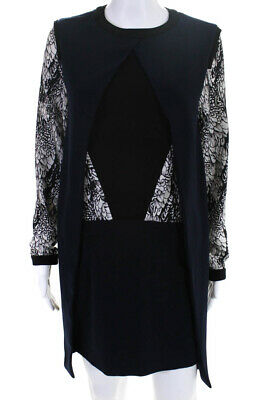 Clotilde Chapter Womens Zipper Back Long Sleeve Dress Blue Black White IT 38 Back Zipper Long Sleeve