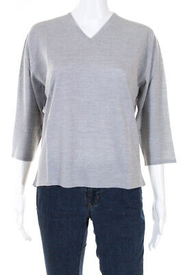 Tse Womens Half Sleeve V Neck Sweater Gray Wool Size Extra Large Gray Wool V-neck Sweater