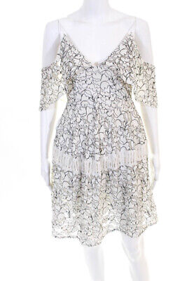 N/Nicholas Womens V Neck Off Shoulder Lace Overlay Dress White Black Lace Size 4